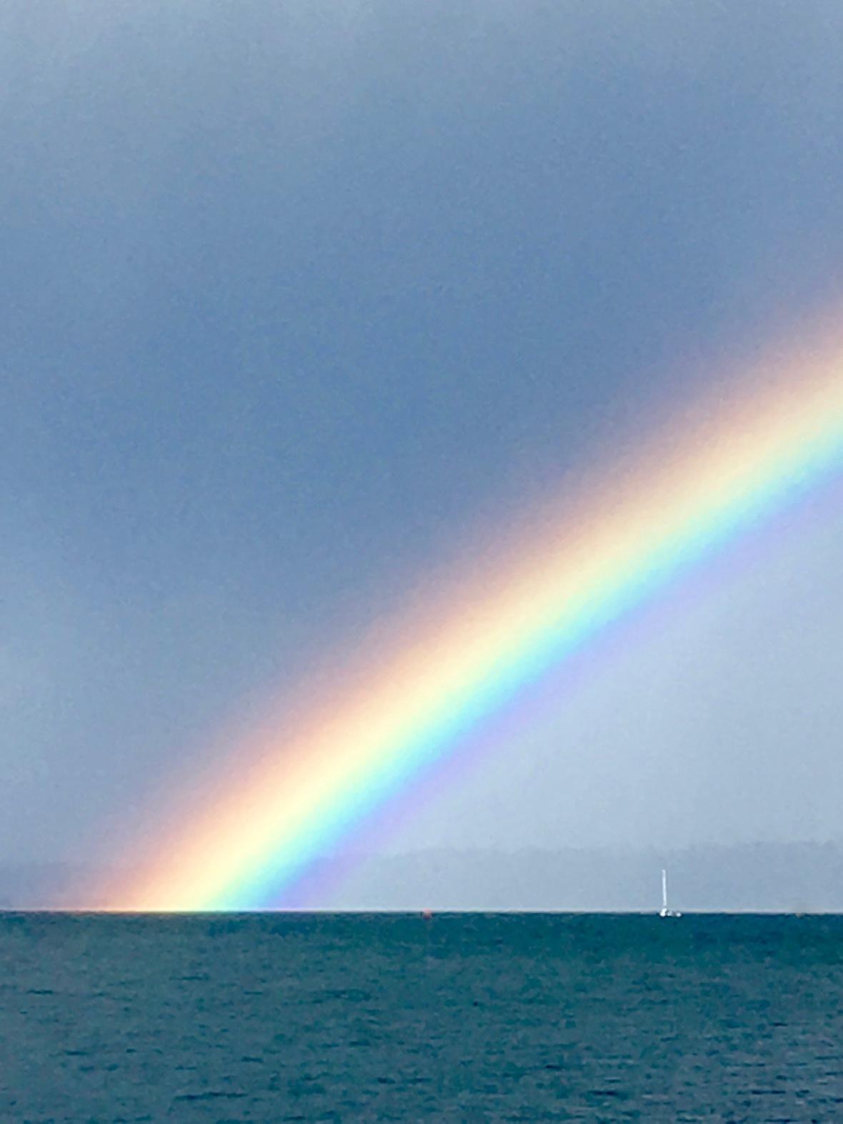 rainbow bright sailboat under