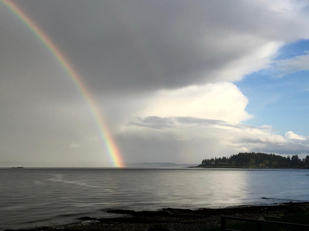 rainbow ripple on water